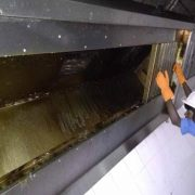 Duct Deep Cleaning By High Pressure Hot Water Jet Spinner Machine. Kitchen Hoods Filters Removing And Cleaning